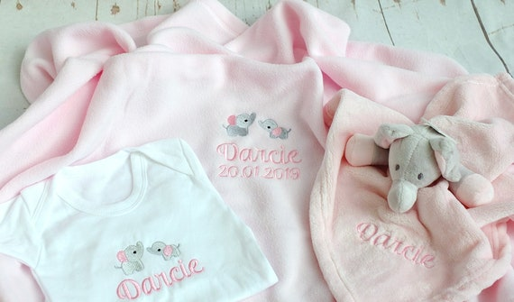 Personalised Baby Girl/Boy Gift Set, New Baby Gift, Embroidered Blanket, Vest and Comforter, Baby Shower Gift,