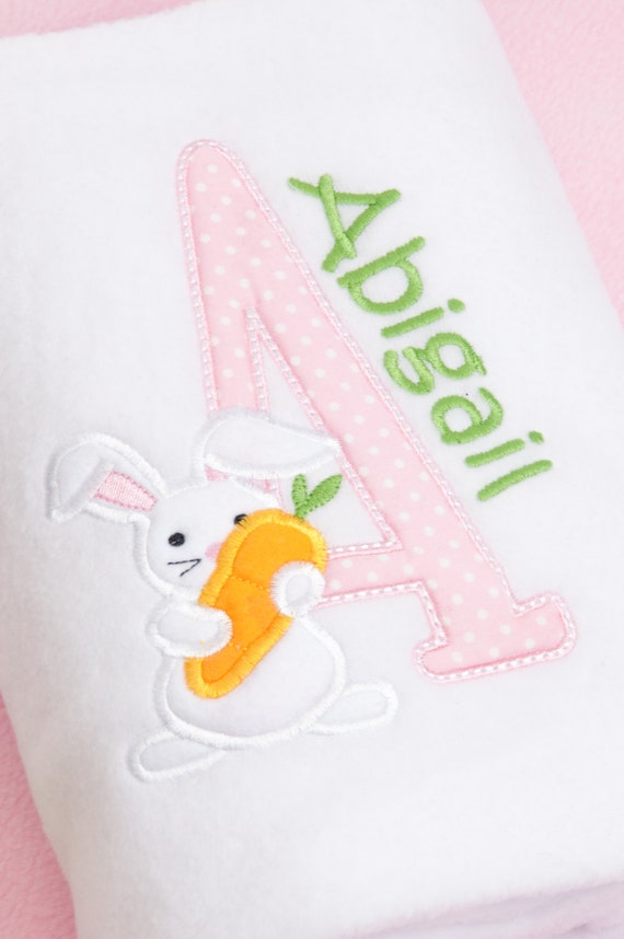 Personalised Baby Girl Blanket Fleece Embroidered Christening  Newborn Easter Gift