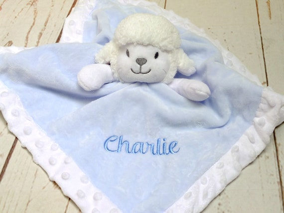 Personalised Baby Comforter, Lamb Comfort Blanket, Blue or Pink, Personalised With Babies Name, Embroidered,  Baby Gift, Comforter Gift