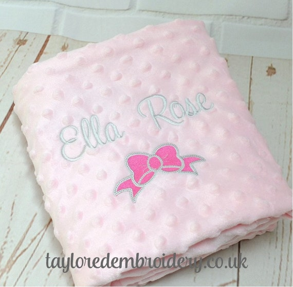Personalised Baby Girl Blanket, Baby Girl Gift, Luxury Bubble Texture Blanket, Embroidered Gift, New Baby Gift, Baby Shower Christening Gift