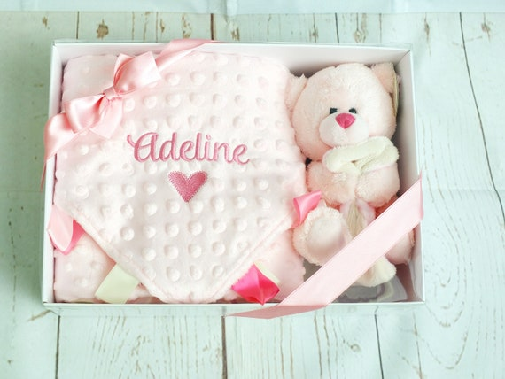 Personalised baby girl/boy gift set, available in pink and blue, blanket, comforter and teddy bear gift boxed, christening gift, newborn