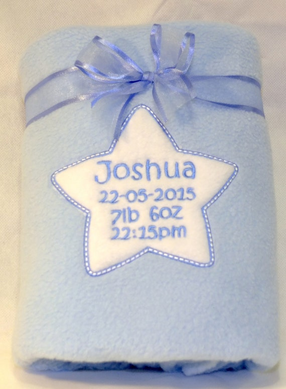 Personalised Baby Boy Blanket, Blue Fleece Blanket, Embroidered Star With Babies Birth Details, New Baby Gift, Christening Gift,