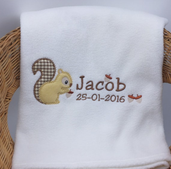 Personalised Blanket, Embroidered Blanket, Personalised Gift, Squirrel Blanket, New Baby Gift, Christening Gift, Receiving Blanket, Squirrel