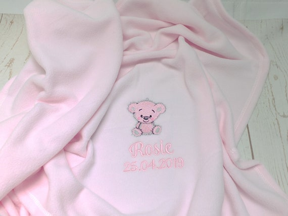 Personalised Baby Fleece Blanket, Embroidered Baby Blanket, Baby Girl Boy Fleece Blanket, New Baby Gift, Teddy Bear Blanket, Pink or Blue