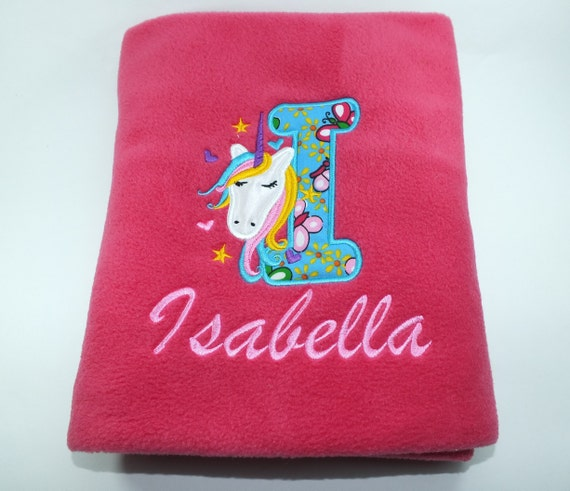Personalised Baby Girl Blanket Embroidered Unicorn Design Baby Gift Newborn Baby Shower Christening Gift