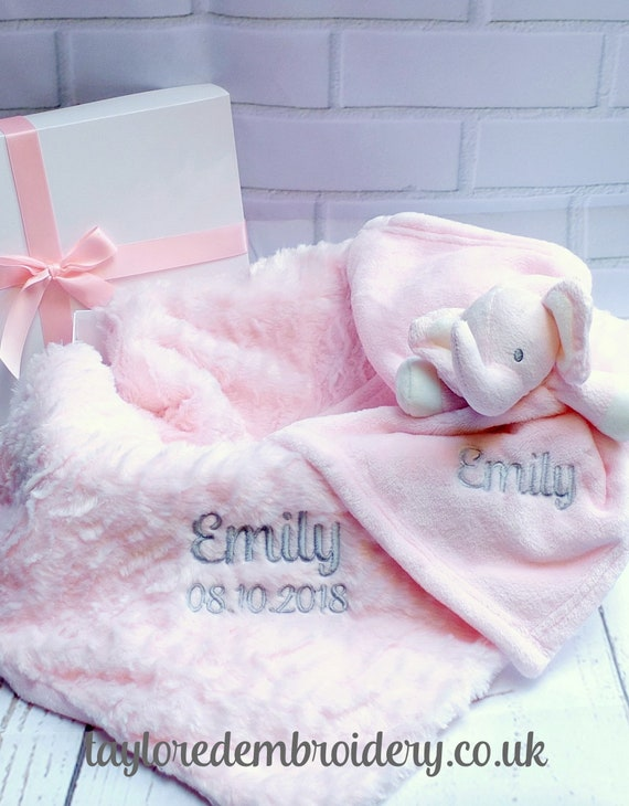 New Baby Gift Set, Baby Girl Gift Set,Personalised Baby Gift, Pink Baby Blanket and Comforter, Gift Boxed, Unique Baby Gift, Newborn Gift