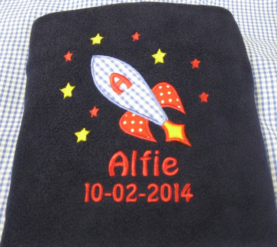 Personalised Embroidered Fleece Baby Boy Blanket With Rocket Spaceship Design