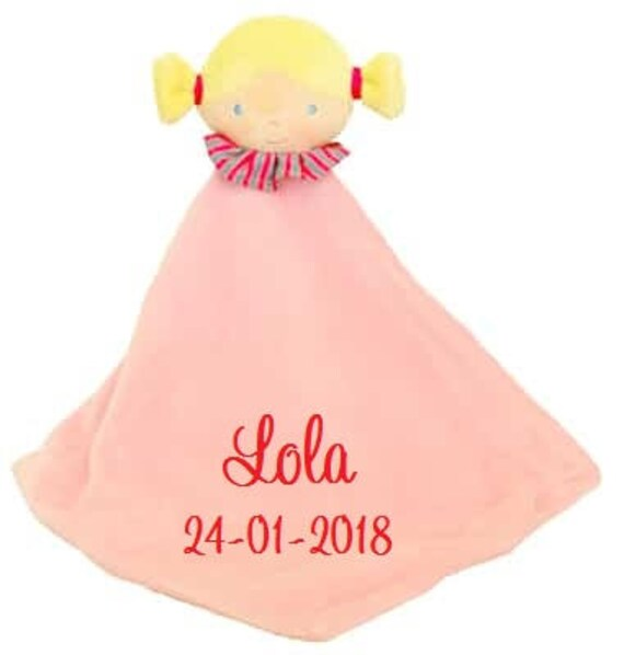 Comforter, Personalised Gift, Embroidered Gift, Comfort Blanket, Soft Toy, New Baby Gift, Baby Girl Gift, Comforter Girl, Comforter PInk,