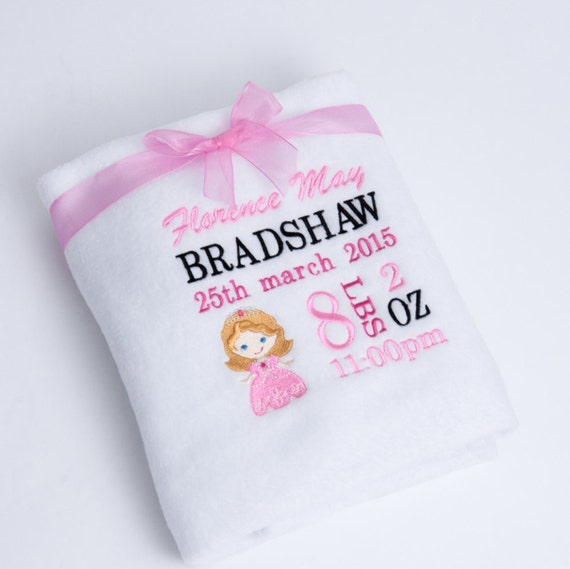 Personalised Embroidered Fleece Baby Girl Blanket With Full Details Newborn/Christening Gift