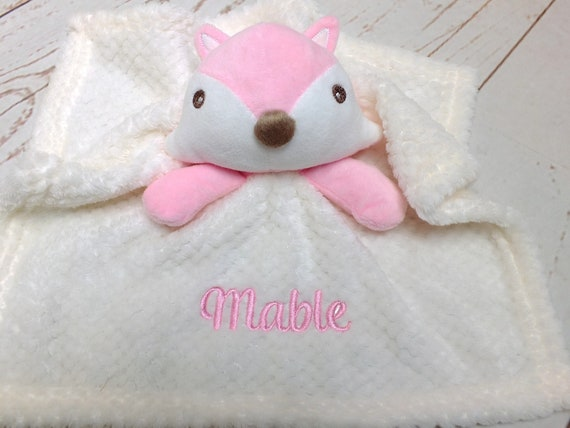 Personalised Baby Comforter, Baby Comfort Blanket, Baby Fox Comforter, Pink or Blue, Embroidered with Babies Name, Baby Girl Boy Comforter
