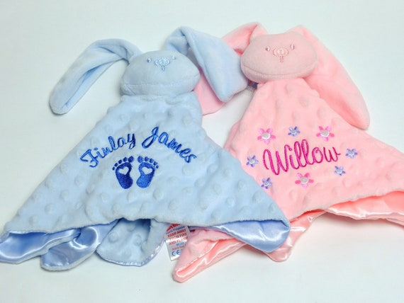 Personalised Baby Comforter, Bunny Rabbit Comforter, New Baby Gift , Bbay Boy Girl Snuggle Blanket, Pink Blue Comforter, Embroidered Gift