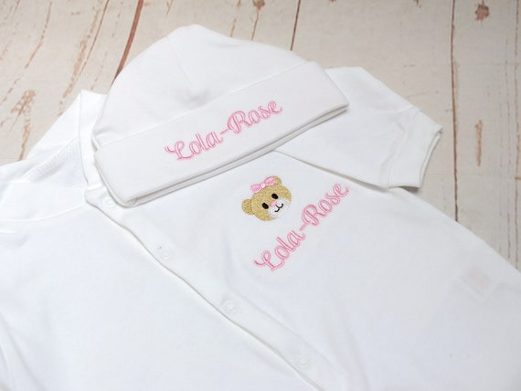 Personalised Baby Grow, Sleepsuit, Embroidered Baby Girl Clothes, New Baby Gift, Baby, Baby Shower