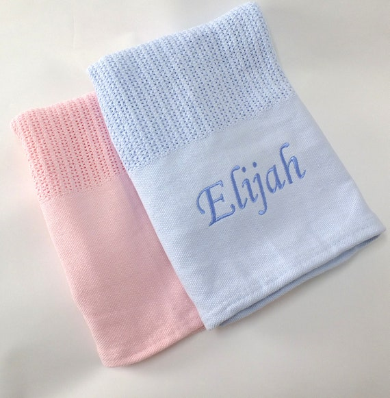 Personalised Cotton Cellular Baby Blanket, Blue Pink Cotton Cellular Blanket, Embroidered WIth Babies Name
