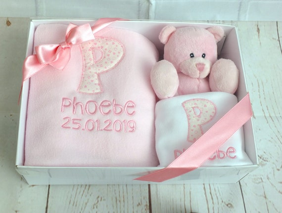 Personalised Baby Girl Gift Set, New Baby Gift, Blanket, Bodysuit/Vest, Teddy Bear, Gift Boxed, Baby Shower Gift, Newborn, Unique Gift