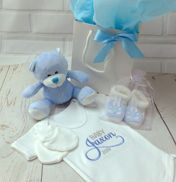 Personalised Baby Boy Gift Set, Personalised Bodysuit/Onesie, Embroidered, Teddy, Booties, Mittens , Baby Boy Gifts, New Baby , Christening