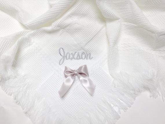 Personalised Baby Shawl, Embroidered White Fringed Shawl, New Baby Gift, Christening Gift, Luxury Shawl, Baptism, Naming Day