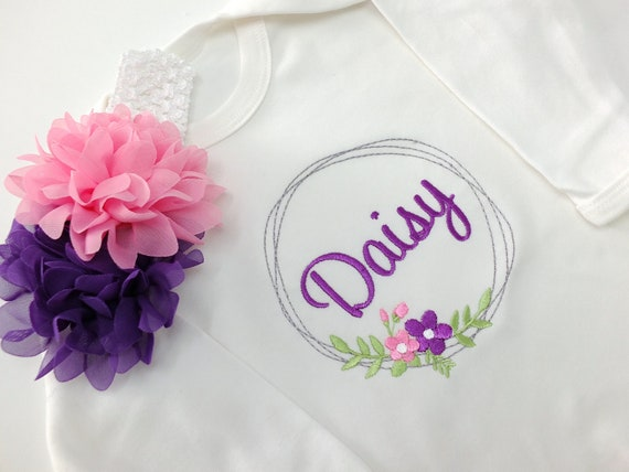 Personalised Rompersuit, Baby Girl Coming Home Outfit, Embroidered Baby Clothing, Baby Headband