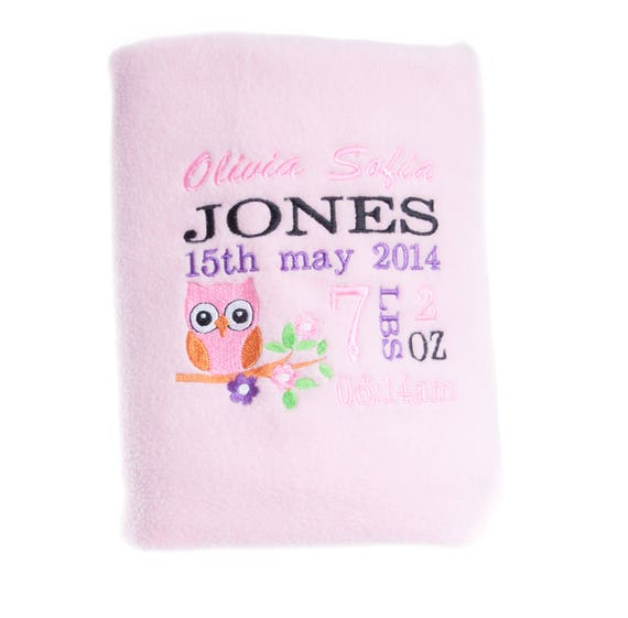 Personalised Blanket, Baby Girl Blanket, Embroidered Blanket, Embroidered Gift, Owl Blanket,  New Baby Gift, Baby Girl Gift, Custom Blanket