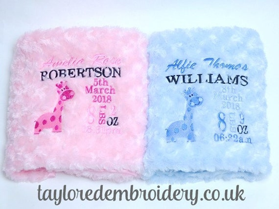 Personalised Baby Boy Blanket, Luxury Fluffy Blanket, New Baby Gift, Embroidered With Babies Birth Details And Cute Giraffe