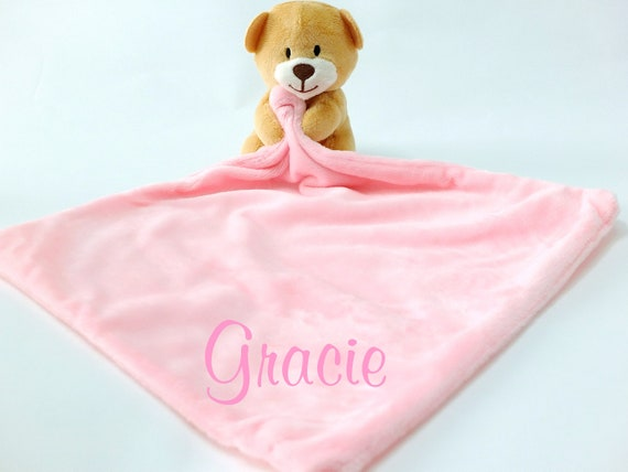 Personalised Baby Comforter, Embroidered Baby Comfort Blanket, Teddy Bear Comforter Pink or Blue