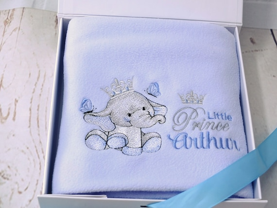 Personalised Baby Boy Blanket, Embroidered Blanket, New Baby Gift, Cute Elephant Design, Little Prince Blanket, Christening Gift, Gift Boxed