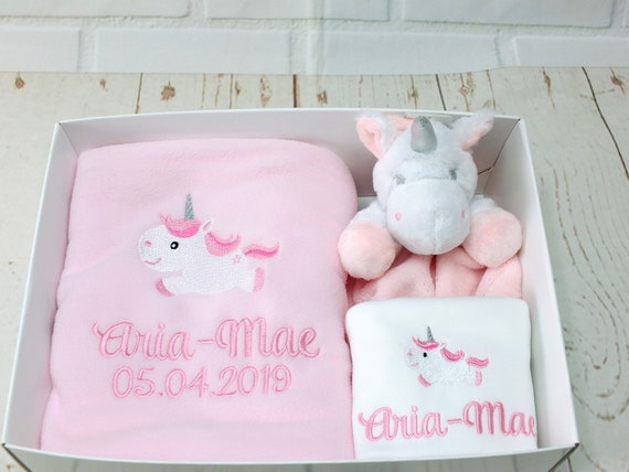 Personalised Unicorn Baby Girl Gift Set, Blanket Bodysuit/Vest Comforter, New Baby Gift, Christening Gift, Gift Boxed, Unicorn Gifts