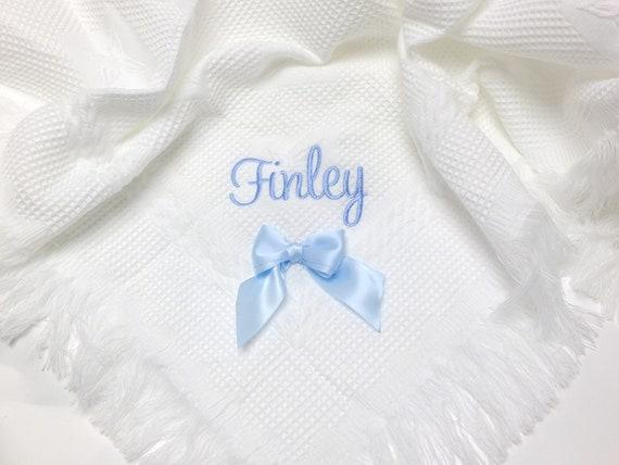 Personalised Baby Boy Shawl, Luxury Fringed Embroidered Shawl, Christening, Baptism, Naming Day Gift