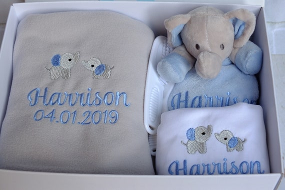 Personalised Embroidered Baby Boy Gift Set, Blanket, Comforter, Vest/Bodysuit, Gift Box, Unique Baby Gift,