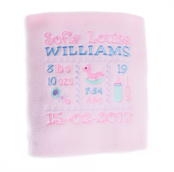 Personalised Embroidered Baby Girl Pink Fleece Blanket With Babies Birth Details Cute Rocking Horse Design new Baby Gift
