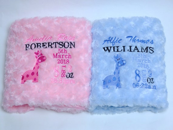 Baby Girl Blanket, Personalised Embroidered Baby Blanket, Luxury Fluffy Baby Blanket, New Born Baby Gift, Pink Fluffy Blanket,