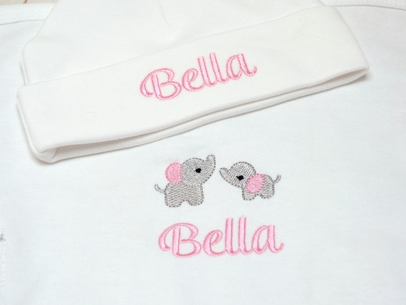 Personalised Sleepsuit, Baby Girl Sleepsuit, Embroidered Onesie, Babygrow, Baby Girl Coming Home Outfit, New Baby Gift, Optional Hat