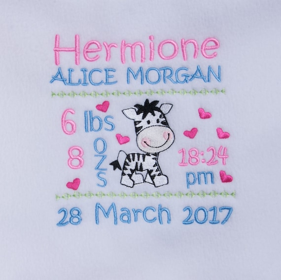 Personalised, Baby Blanket, Fleece Blanket, Baby Girl Blanket, Embroidered, Zebra, Babies Birth Details, New baby gift, Christening gift,