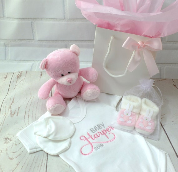 Personalised Baby Girl Gift Set, Personalised Bodysuit/Onesie, Embroidered, Teddy, Booties, Mittens, Gift Bag, New Baby , Christening Gift,
