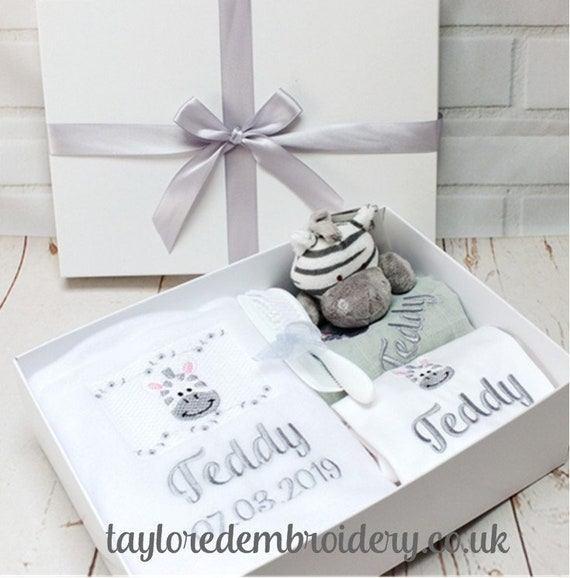 Personalised Baby Gift, New Baby Gift Set, Personalised Blanket, Bodysuit, Muslin and Zebra Soft Toy Rattle, Unique Baby Gift, Christening