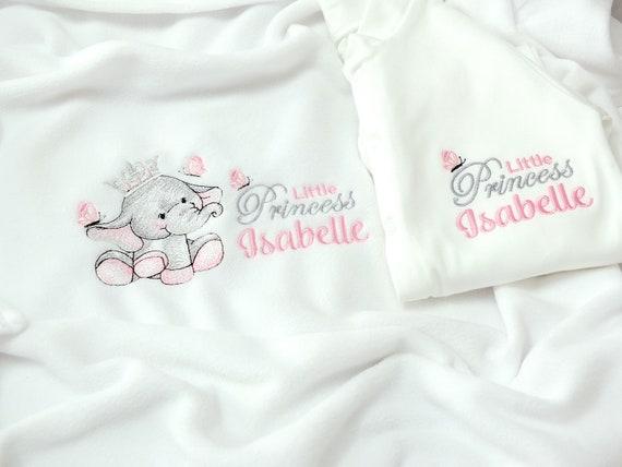 Personalised Baby Girl Blanket and Sleepsuit, Gift Boxed, New Baby Gift, Embroidered, Personalised Onesie/Babygrow, Baby Shower Gift