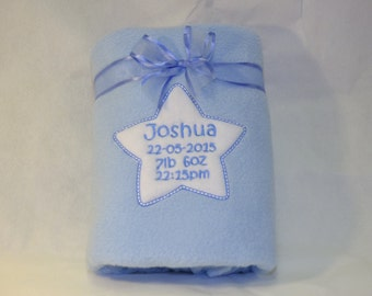 Personalised Blanket, Embroidered Blanket, Baby Boy Blanket, New Baby Gift, Christening Blanket, Receiving Blanket, Blue Blanket, Boy Gift