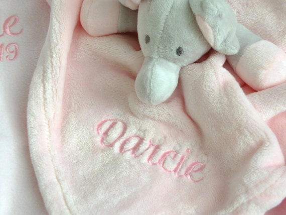 Comforter Elephant, Baby Comforter, Available in Pink, Blue, White, Personalised  Babies Name, New Baby Gift, Newborn Gift, Snuggle Blanket