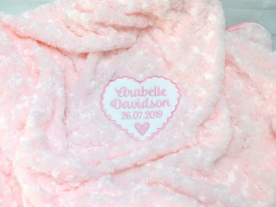 Personalised Fluffy Baby Girl Blanket, Personalised Baby Gift, Embroidered Blanket, Pink Baby Blanket, New Baby Gift, Christening Gift