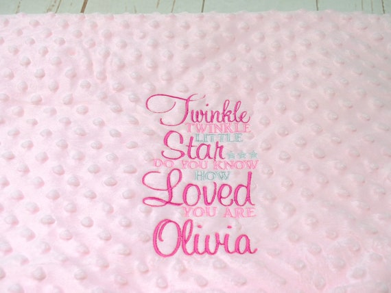 Personalised Baby Girl Blanket, Luxury Baby Blanket, Pink Bubble Texture Blanket, Embroidered Baby Girl Blanket, New Baby Gift, Personalised
