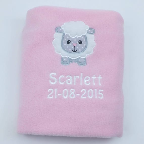 Personalised Blanket, Embroidered, Christening Gift, New baby Gift, Lamb Blanket, Pink Blanket, Personalised Gift, Baby Shower Gift, Sheep