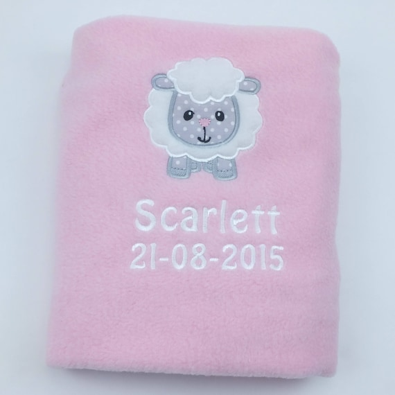 Personalised Pink Baby Blanket, Embroidered Fleece Blanket, Little Lamb Design, New Baby Gift, Christening Blanket, Baby Sheep Blanket