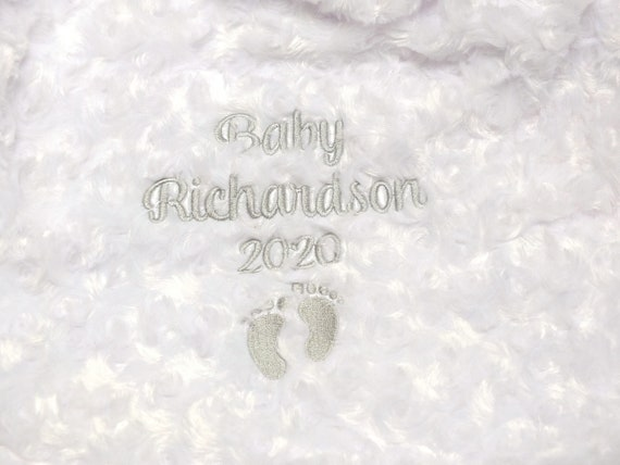 Personalised White Fluffy Baby Blanket, Embroidered Luxury Soft Baby Blanket, New Baby, Christening, Baby Shower Gift