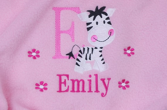 Personalised Embroidered Baby Girl Fleece Blanket Christening Newborn Gift