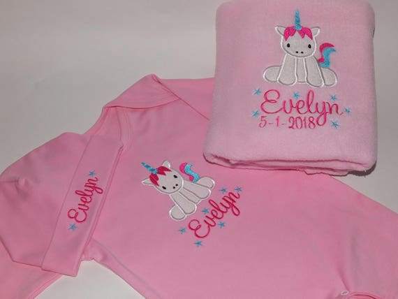 Personalised Baby Girl Gift Set Choose  Fleece, Blanket, Romper Suit Vest Bib Hat Embroidered With Unicorn  and Babies Name New Baby Gift