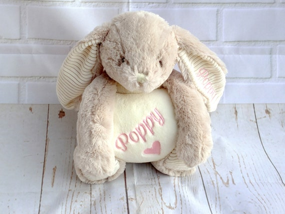 Personalised Baby Blanket, Soft Toy Bunny with Blanket, Baby Girl Gift, Embroidered Baby Gift, Baby Girl Blanket, Personalised Baby Gift
