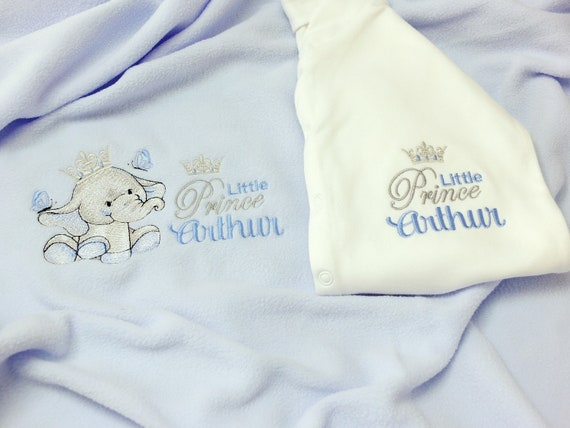Personalised Baby Boy Blanket and Sleepsuit, Embroidered, New Baby Gift, Christening Gift, Personalised Onesie/Babygrow, Baby Shower Gift