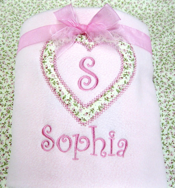 Personalised Pink Baby Blanket, Embroidered Blanket, Floral Heart Blanket, Available in Pink and Lilac, New Baby Girl Gift
