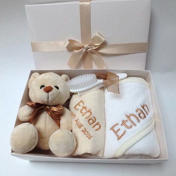 Personalised Baby Gift Set with Hooded Towel , Muslin Clothes , Teddy and Brush and Comb Embroidered Boxed Baby Gift Set