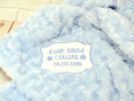 Personalised Embroidered Baby Boy Blanket, Luxury Fluffy Blue Blanket Embroidered with Babies Birth Details, Option to Gift Wrap/Box