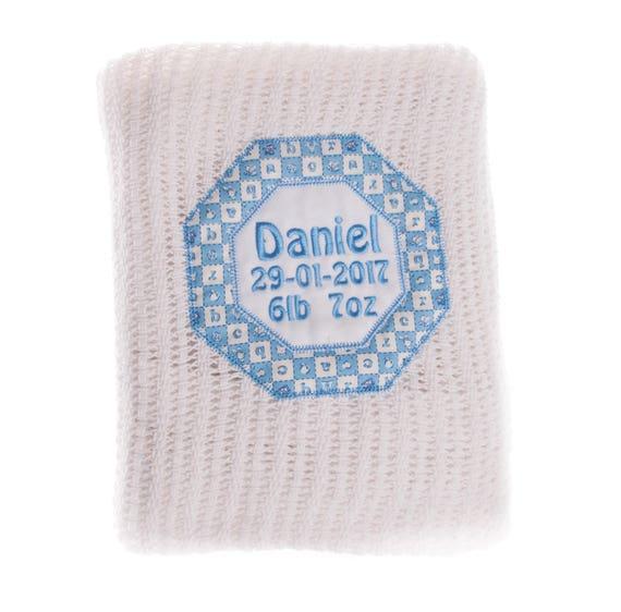 Cotton Blanket, Personalised Blanket, Cellular Blanket, Embroidered Blanket, New Baby Gift, Baby Boy Gift, Christening Gift, Summer Blanket